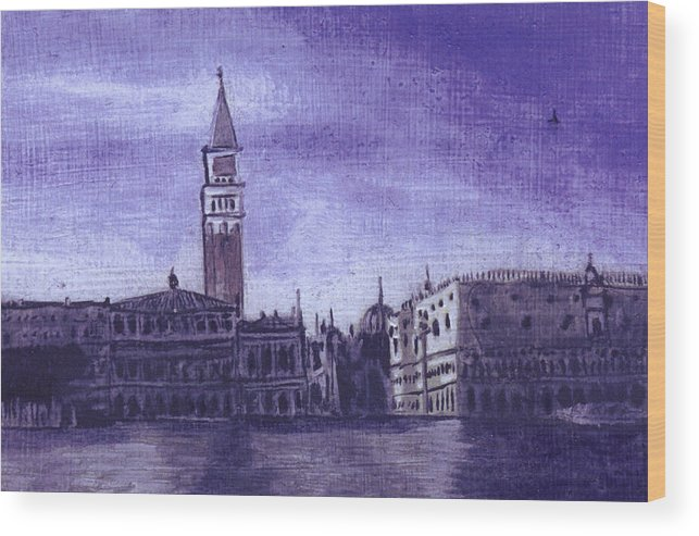 Landscape Wood Print featuring the painting After The Pier At San Marco by Hyper - Canaletto