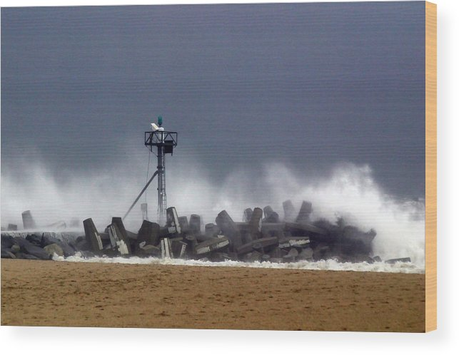 Seascape Wood Print featuring the photograph Against The Breakers by Mary Haber
