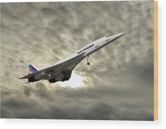 Air France Wood Print featuring the photograph Air France Concorde 115 by Smart Aviation