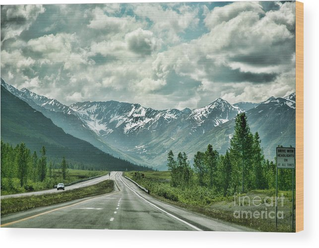 Alaska Wood Print featuring the photograph Alaska On The Road by Chuck Kuhn
