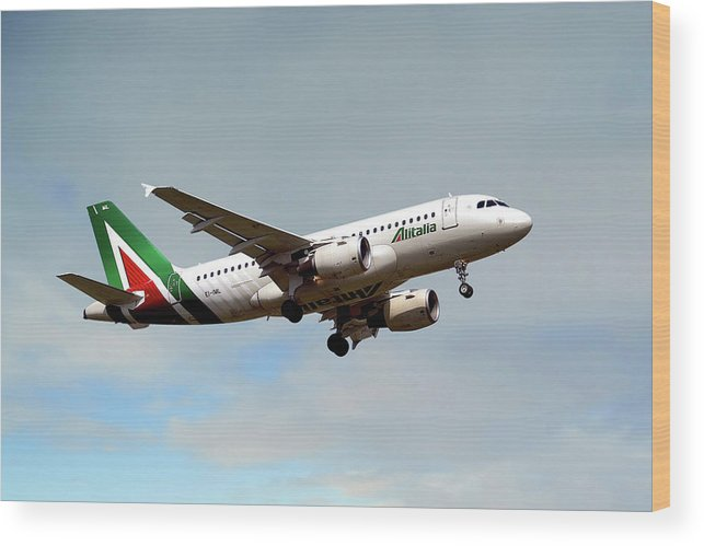Alitalia Wood Print featuring the photograph Alitalia Airbus A319-112 by Smart Aviation