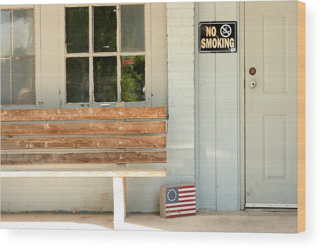 Flag Wood Print featuring the photograph America No Smoking by Steve Augustin