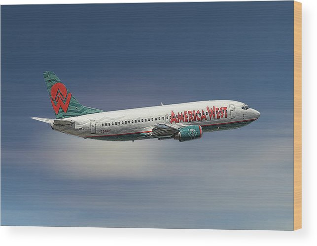 America West Wood Print featuring the mixed media America West Boeing 737-300 by Smart Aviation