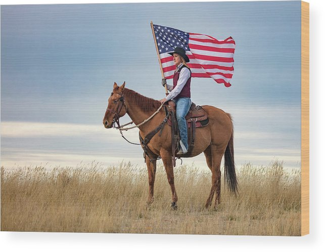 Cowgirl Wood Print featuring the photograph American Cowgirl by Todd Klassy