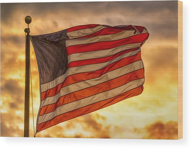 Flag Wood Print featuring the photograph American Sunset On Fire by James BO Insogna