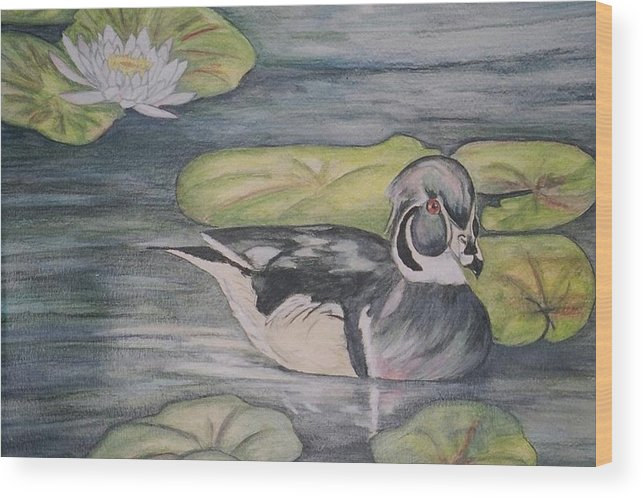 Wood Duck Wood Print featuring the painting Among The Lillypads by Debra Sandstrom