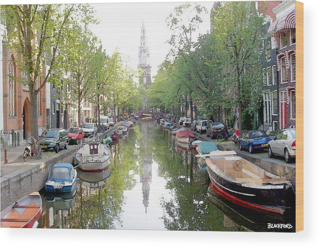 Amsterdam Wood Print featuring the digital art Amsterdam Canal by Al Blackford