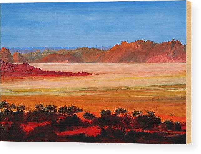 Landscape Wood Print featuring the painting Ancient Lake by David Rhodes