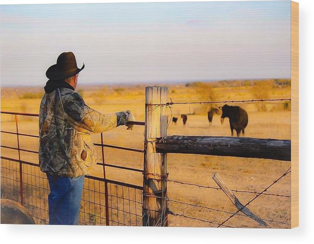 Hay Wood Print featuring the photograph And God Made A Rancher by Jeanie Mann