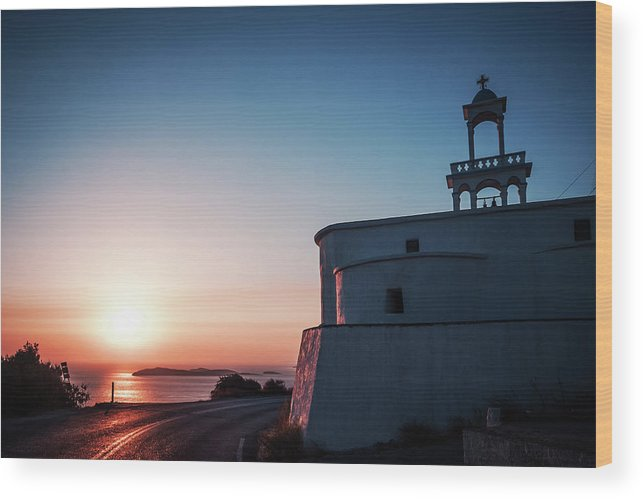 Andros Wood Print featuring the photograph Andros Island Sunset - Greece by Alexander Voss