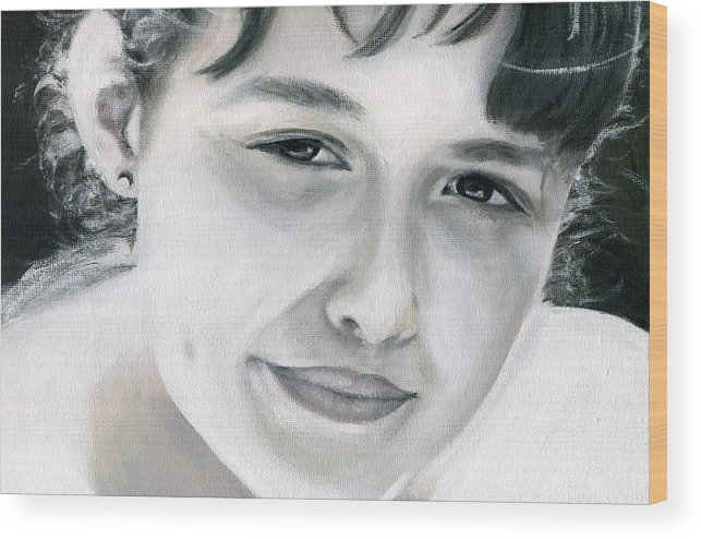 Portrait Wood Print featuring the painting Ane by Fiona Jack