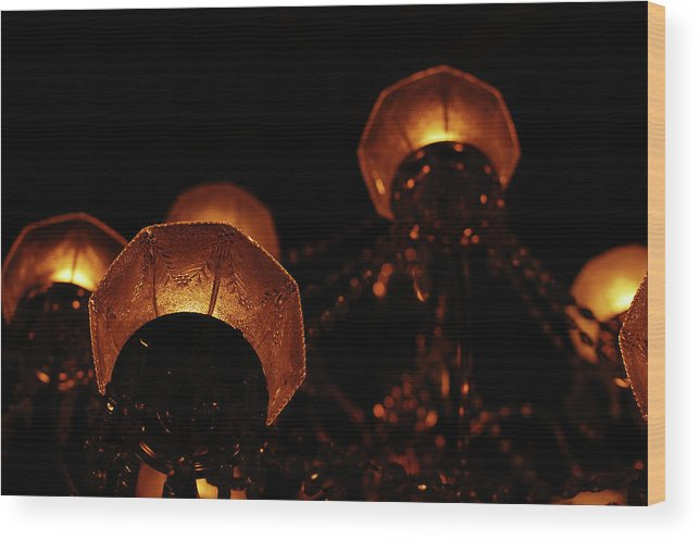 Chandelier Wood Print featuring the photograph Antique Lighting by Jean Booth