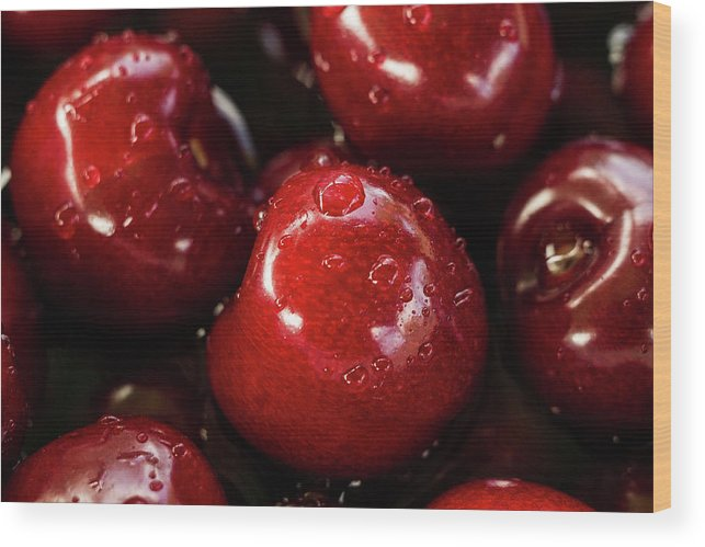Red Wood Print featuring the photograph Apple Perfection by Happy Home Artistry