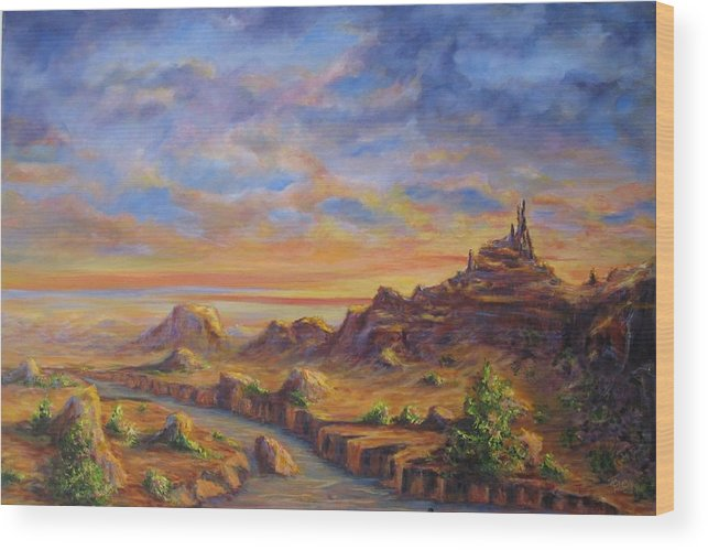 Desert Landscape Wood Print featuring the painting Arroyo Sunset by Thomas Restifo