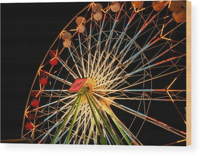 Ferris Wheel Wood Print featuring the photograph At The County Fair by Joe Kozlowski