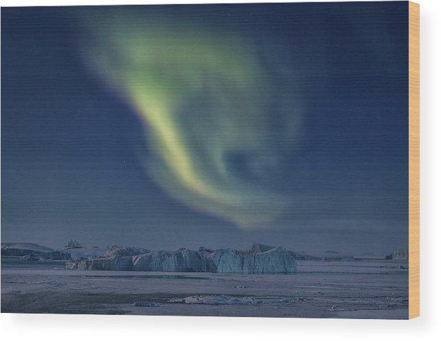 Northern Lights Wood Print featuring the photograph Aurora Borealis - Greenland by Joana Kruse