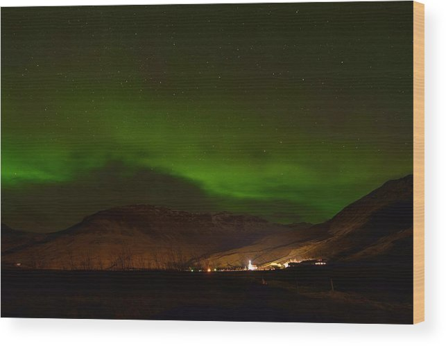 Iceland Wood Print featuring the photograph Aurora Borealis In Iceland by Giovanni Giuliano