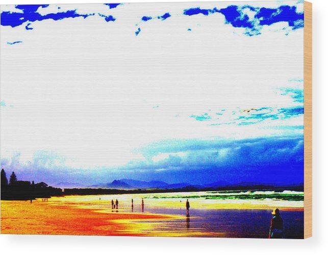 Beach Wood Print featuring the digital art Aussie Beach by Darren Common