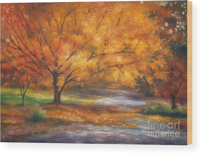 Fall Wood Print featuring the painting Autumn by Ann Cockerill