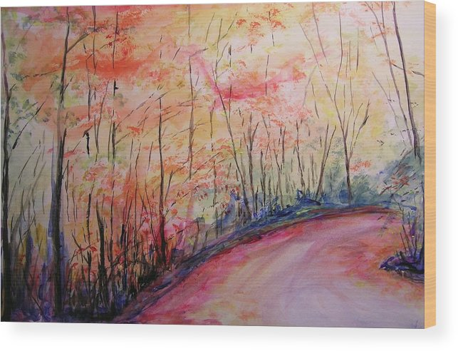 Landsape Wood Print featuring the painting Autumn Lane II by Lizzy Forrester