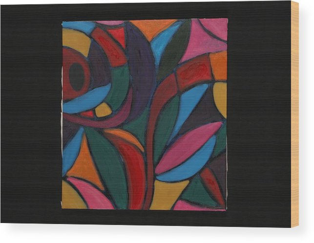 Abstract Wood Print featuring the painting Autumn Light by Mary Silver
