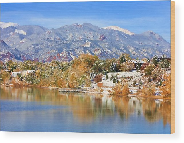 Landscape Wood Print featuring the photograph Autumn Snow At The Lake by Diane Alexander