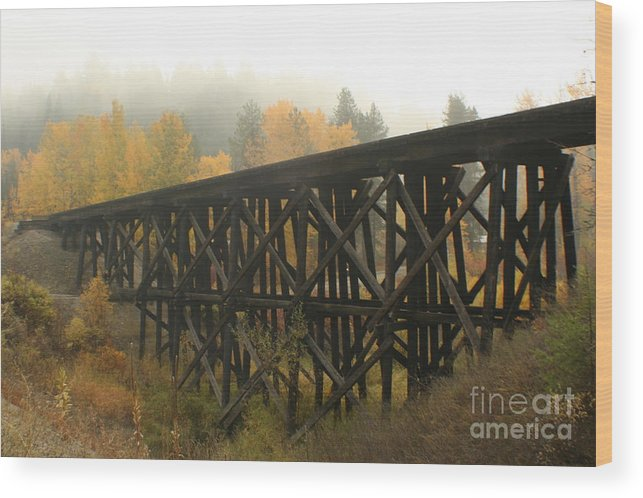 Trestle Wood Print featuring the photograph Autumn Trestle by Idaho Scenic Images Linda Lantzy