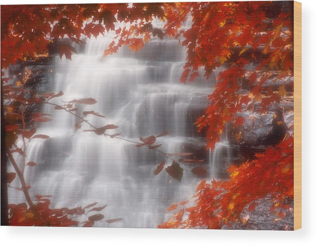 Autumn Wood Print featuring the photograph Autumn Waterfall I by Kenneth Krolikowski