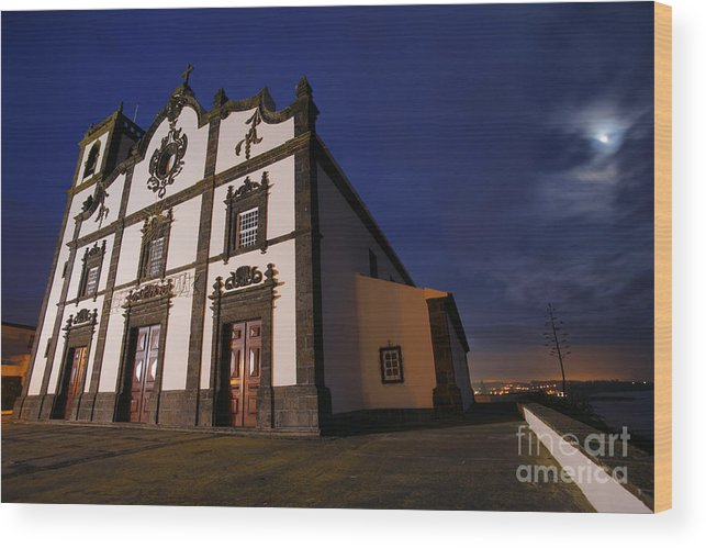 Catholic Wood Print featuring the photograph Azorean Church At Night by Gaspar Avila