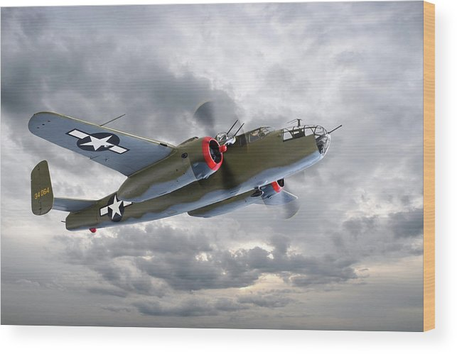 Aviation Wood Print featuring the photograph B-25 Mitchell Bomber by Gill Billington