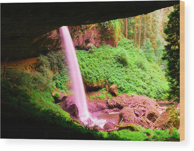 Waterfall Wood Print featuring the photograph Back Side Of Silver Falls by Jeff Swan