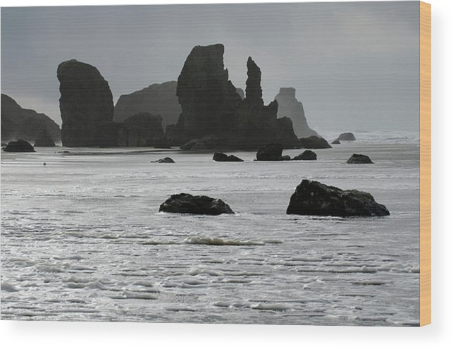 Rocks Wood Print featuring the photograph Bandon Silouettes by Bob Christopher