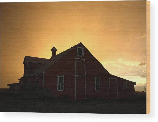 Barn Wood Print featuring the photograph Barn At Sunset by Jerry McElroy