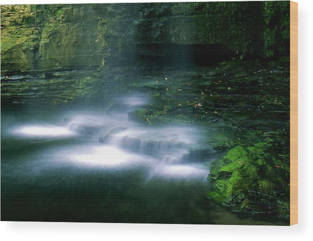 Waterfall Wood Print featuring the photograph Base Of Waterfall by Roger Soule