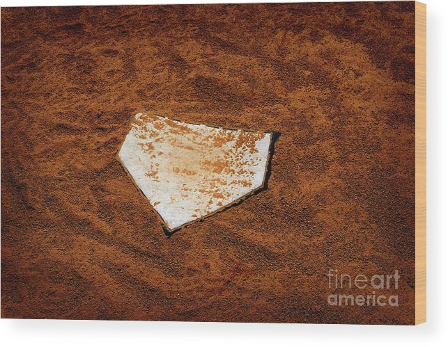 Activity Wood Print featuring the photograph Baseball Homeplate In Brown Dirt For Sports American Past Time by Lane Erickson