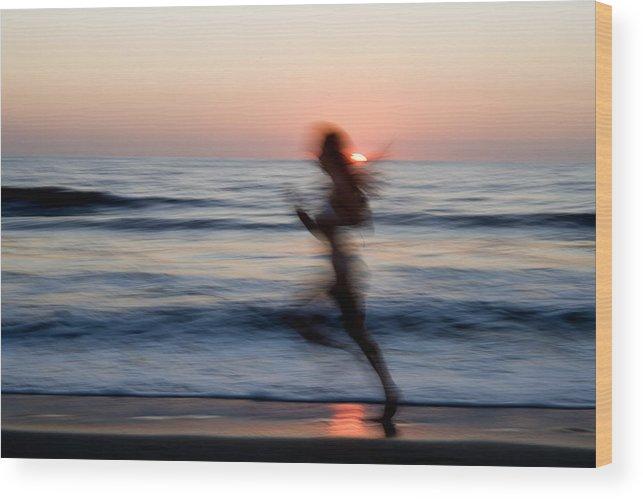 Run Wood Print featuring the photograph Beach Sprint by Brad Rickerby