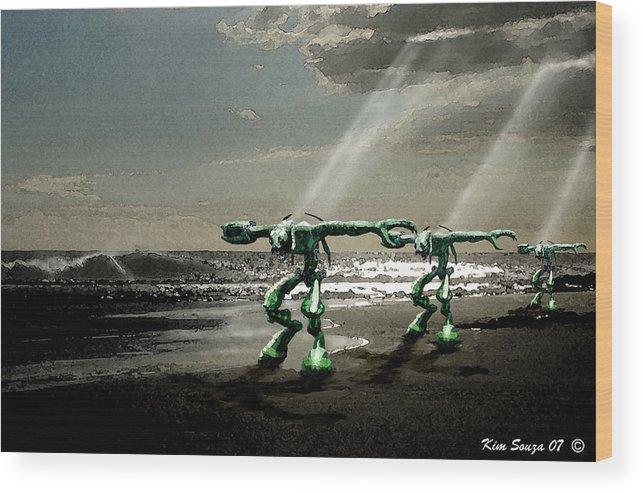 Beach Wood Print featuring the digital art Beach Visitors by Kim Souza