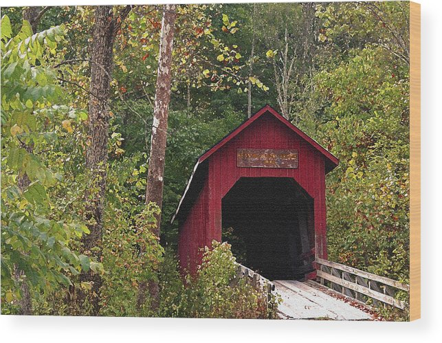 Covered Bridge Wood Print featuring the photograph Bean Blossom Bridge I by Margie Wildblood