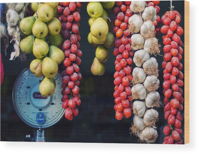 Still Life Wood Print featuring the photograph Beauty In Tomatoes Garlic And Pears by Silvia Ganora