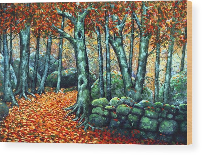 Landscape Wood Print featuring the painting Beech Woods by Frank Wilson