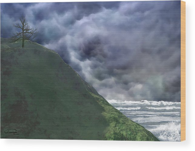 Storm Wood Print featuring the painting Before The Storm by Emma Alvarez