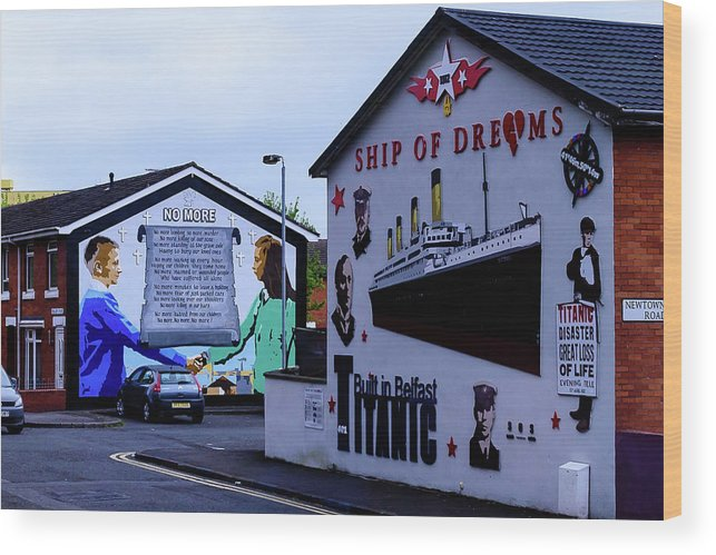 Belfast Wood Print featuring the photograph Belfast Mural - No More by Jon Berghoff