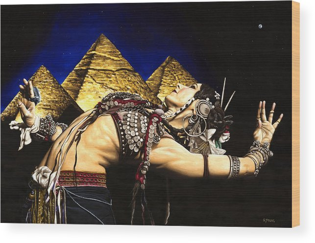 Bellydance Wood Print featuring the painting Bellydance Of The Pyramids - Rachel Brice by Richard Young