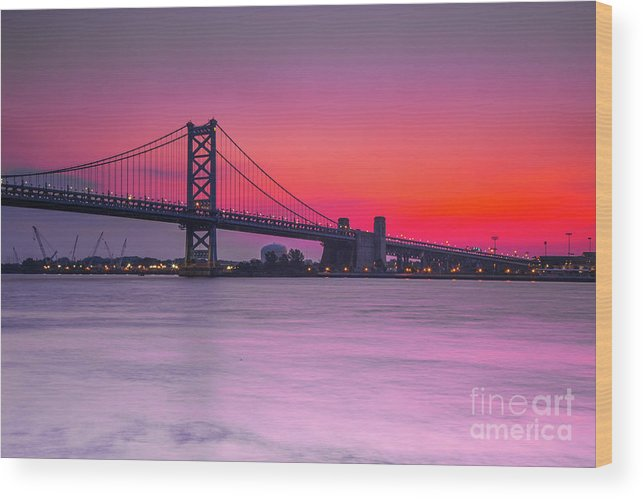 Sunrise Wood Print featuring the photograph Ben Franklin Bridge - Sunrise by Randy Kostichka