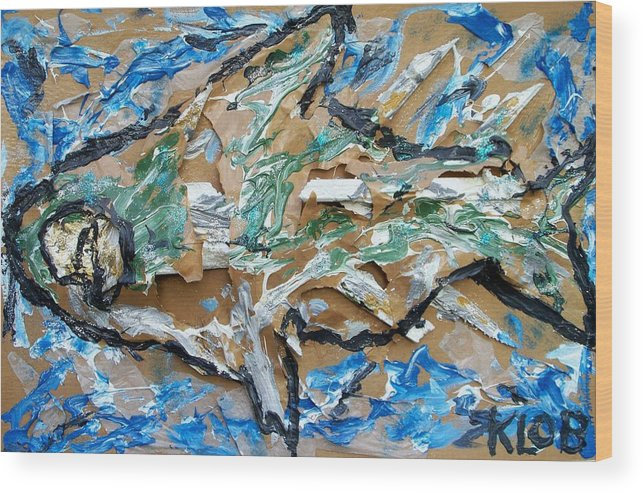 Animal Wood Print featuring the painting Big Fish by Kevin OBrien