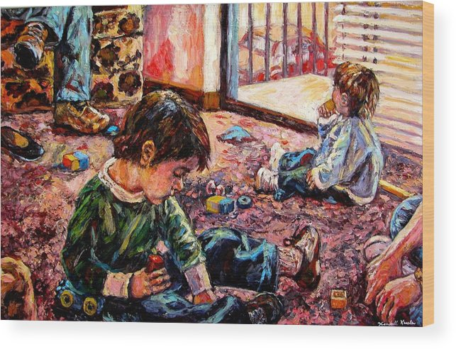 Figure Wood Print featuring the painting Birthday Party Or A Childs View by Kendall Kessler