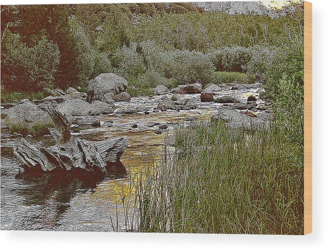 California Landscape Art Wood Print featuring the painting Bishop Creek Nightfall by Larry Darnell