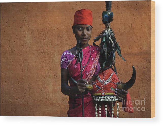 Bison Horn Wood Print featuring the photograph Bison Horn Maria Girl by Franck Metois