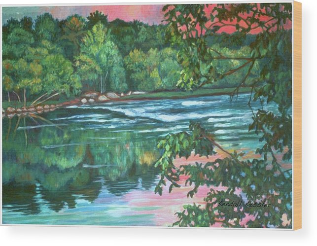 River Wood Print featuring the painting Bisset Park Rapids by Kendall Kessler