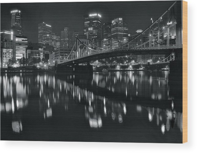 Pittsburgh Wood Print featuring the photograph Black And White Lights by Frozen in Time Fine Art Photography